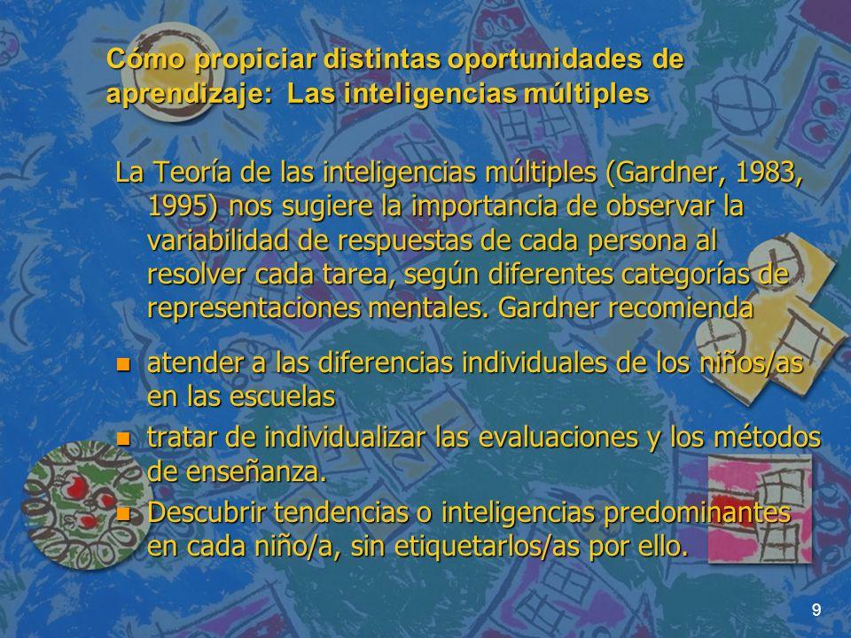 9 Cómo propiciar distintas oportunidades de aprendizaje: Las inteligencias múltiples La Teoría de las inteligencias múltiples (Gardner, 1983, 1995) nos sugiere la importancia de observar la variabilidad de respuestas de cada persona al resolver cada tarea, según diferentes categorías de representaciones mentales.