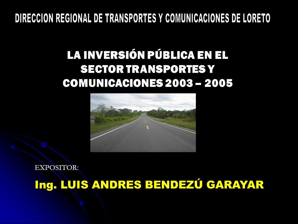 LA INVERSIÓN PÚBLICA EN EL SECTOR TRANSPORTES Y COMUNICACIONES 2003 – 2005 EXPOSITOR: Ing.