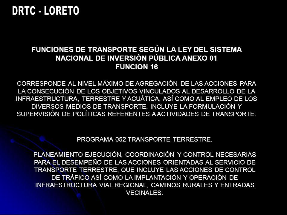 FUNCIONES DE TRANSPORTE SEGÚN LA LEY DEL SISTEMA NACIONAL DE INVERSIÓN PÚBLICA ANEXO 01 FUNCION 16 CORRESPONDE AL NIVEL MÁXIMO DE AGREGACIÓN DE LAS ACCIONES PARA LA CONSECUCIÓN DE LOS OBJETIVOS VINCULADOS AL DESARROLLO DE LA INFRAESTRUCTURA, TERRESTRE Y ACUÁTICA, ASÍ COMO AL EMPLEO DE LOS DIVERSOS MEDIOS DE TRANSPORTE.
