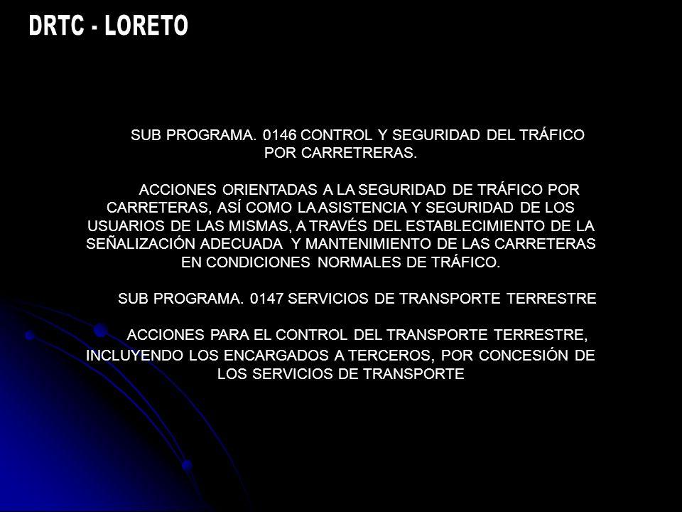 SUB PROGRAMA. 0146 CONTROL Y SEGURIDAD DEL TRÁFICO POR CARRETRERAS.