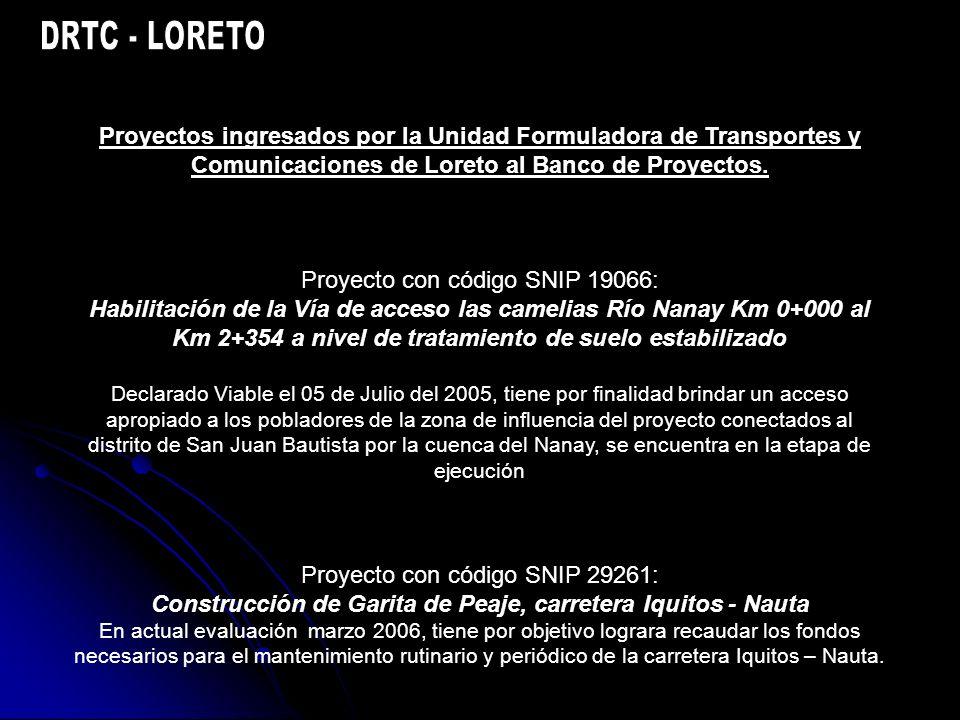 Proyectos ingresados por la Unidad Formuladora de Transportes y Comunicaciones de Loreto al Banco de Proyectos.