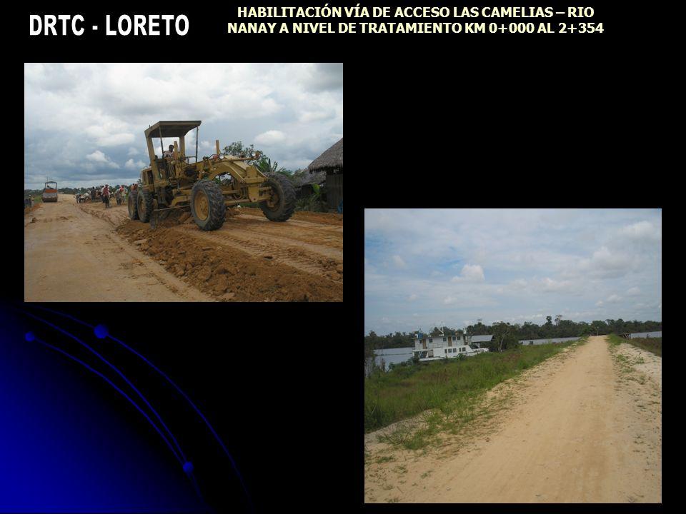 HABILITACIÓN VÍA DE ACCESO LAS CAMELIAS – RIO NANAY A NIVEL DE TRATAMIENTO KM 0+000 AL 2+354
