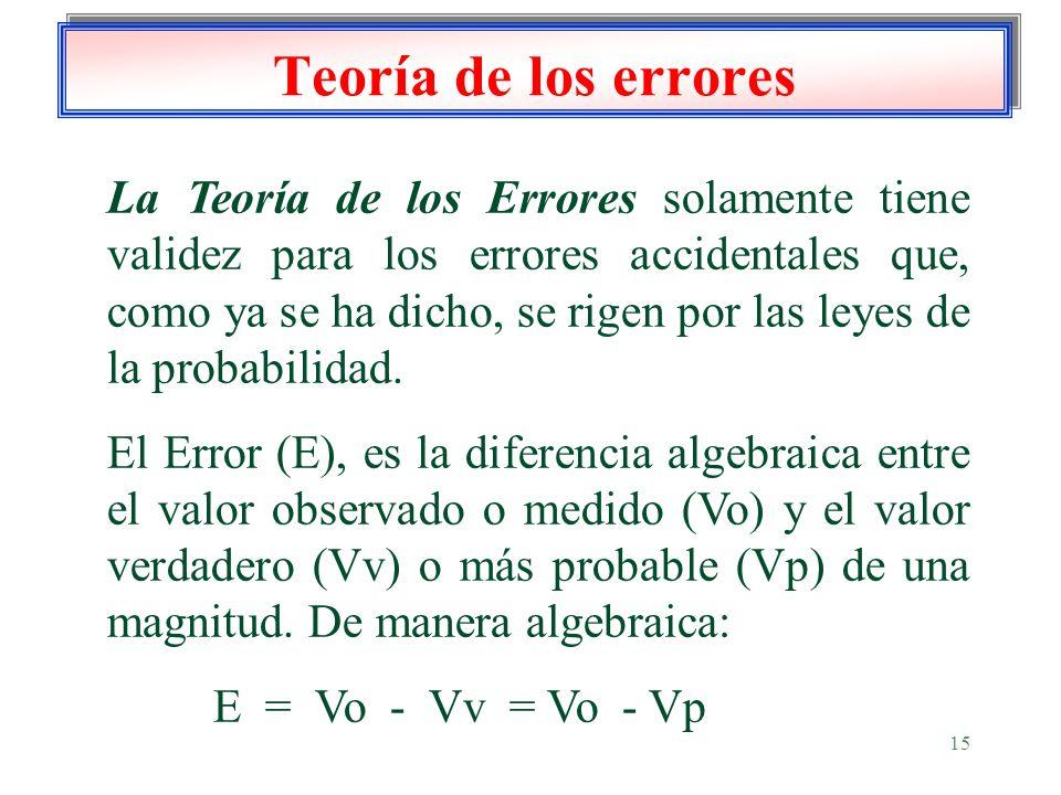 15 Teoría de los errores La Teoría de los Errores solamente tiene validez para los errores accidentales que, como ya se ha dicho, se rigen por las ley