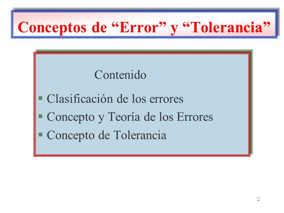 2 Conceptos de Error y Tolerancia Contenido § Clasificación de los errores § Concepto y Teoría de los Errores § Concepto de Tolerancia Contenido § Cla