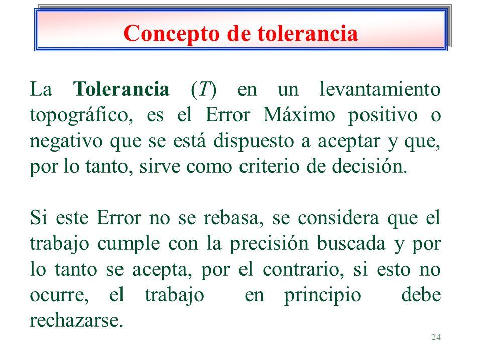 24 Concepto de tolerancia La Tolerancia (T) en un levantamiento topográfico, es el Error Máximo positivo o negativo que se está dispuesto a aceptar y