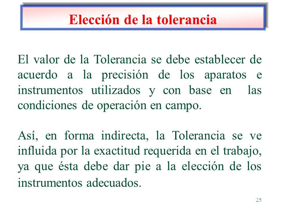 25 Elección de la tolerancia El valor de la Tolerancia se debe establecer de acuerdo a la precisión de los aparatos e instrumentos utilizados y con ba