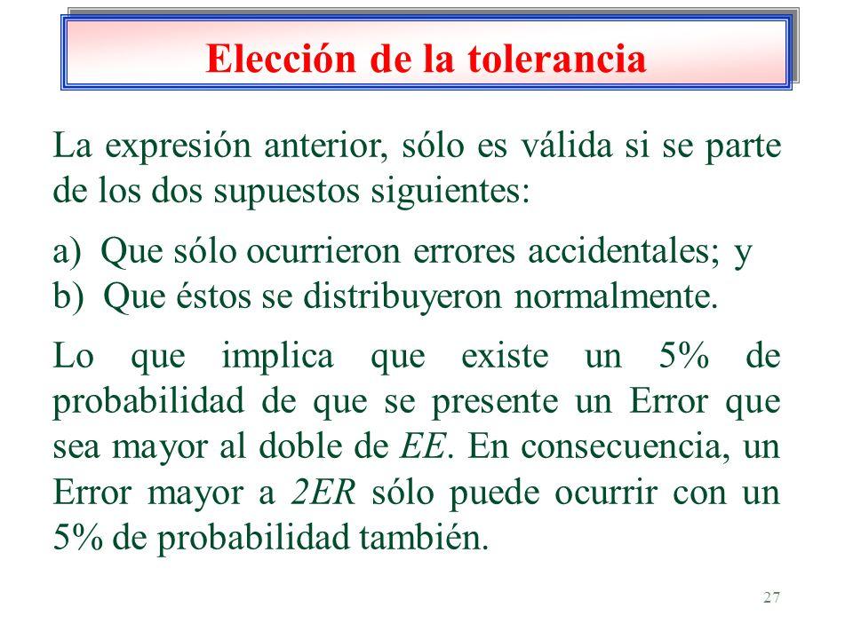 27 Elección de la tolerancia La expresión anterior, sólo es válida si se parte de los dos supuestos siguientes: a) Que sólo ocurrieron errores acciden