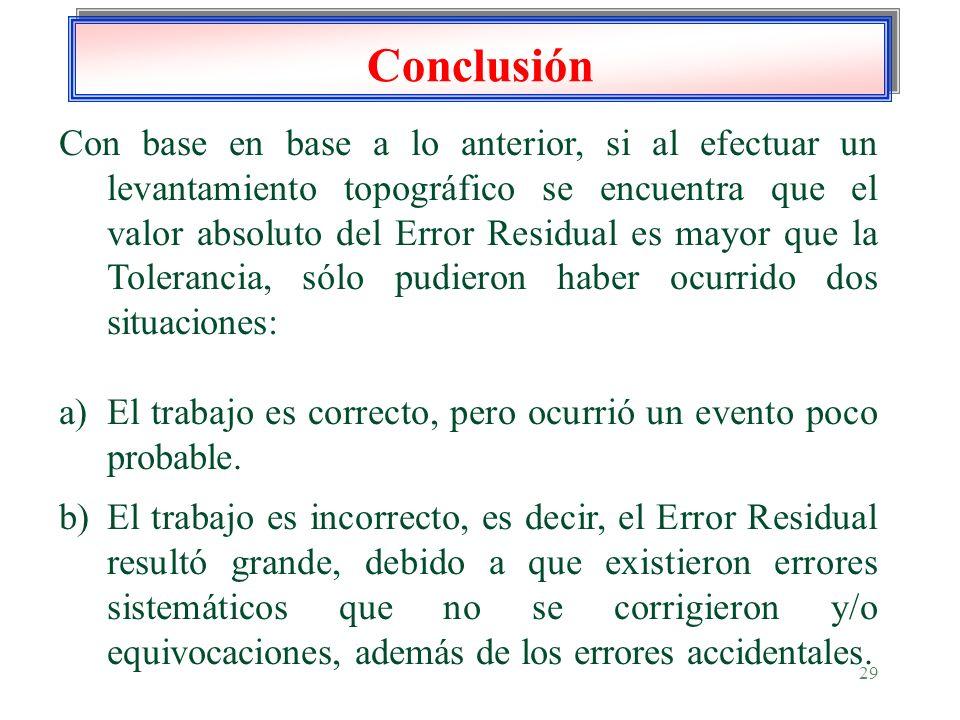 29 Conclusión Con base en base a lo anterior, si al efectuar un levantamiento topográfico se encuentra que el valor absoluto del Error Residual es may