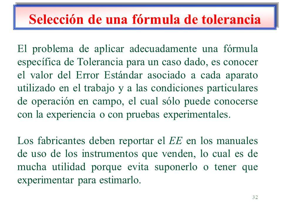 32 Selección de una fórmula de tolerancia El problema de aplicar adecuadamente una fórmula específica de Tolerancia para un caso dado, es conocer el v