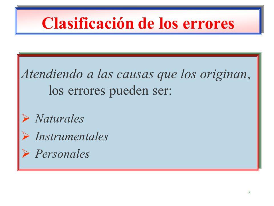 5 Clasificación de los errores Atendiendo a las causas que los originan, los errores pueden ser: Naturales Instrumentales Personales Atendiendo a las