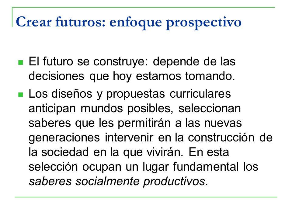 Crear futuros: enfoque prospectivo El futuro se construye: depende de las decisiones que hoy estamos tomando. Los diseños y propuestas curriculares an