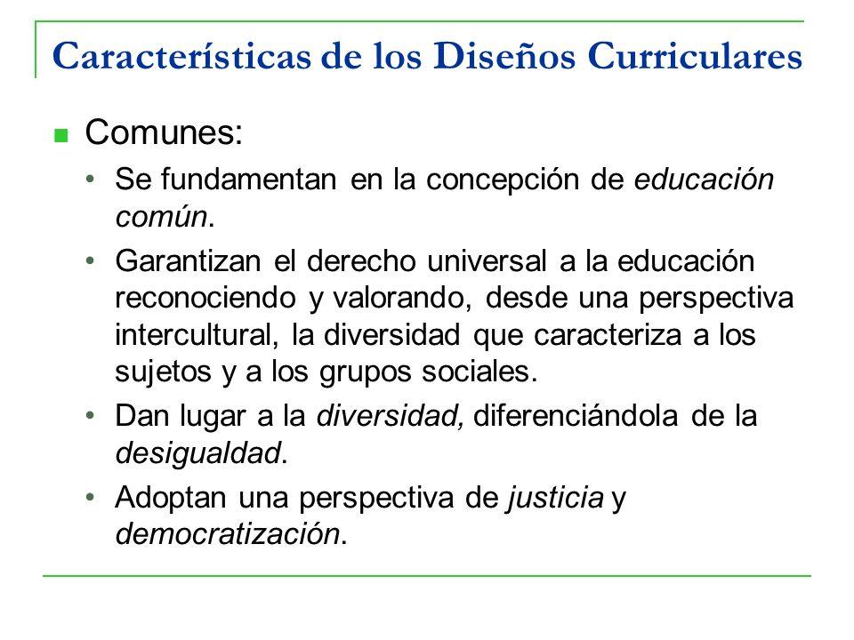Características de los Diseños Curriculares Comunes: Se fundamentan en la concepción de educación común. Garantizan el derecho universal a la educació