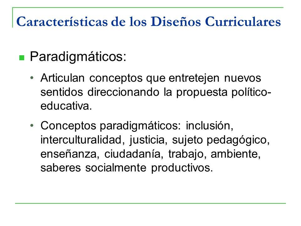 Características de los Diseños Curriculares Paradigmáticos: Articulan conceptos que entretejen nuevos sentidos direccionando la propuesta político- ed