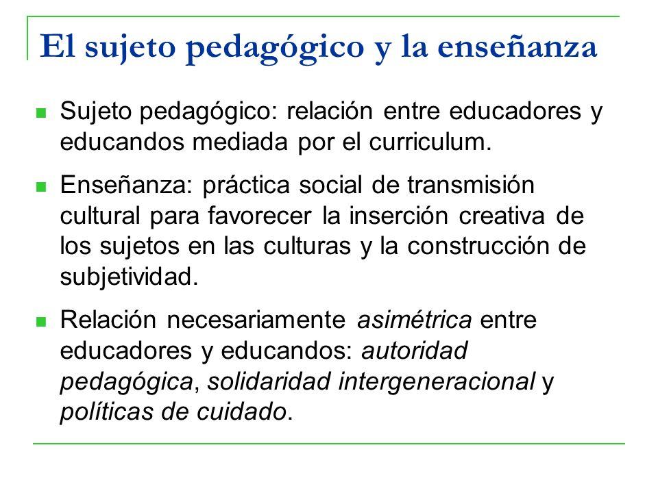 El sujeto pedagógico y la enseñanza Sujeto pedagógico: relación entre educadores y educandos mediada por el curriculum. Enseñanza: práctica social de