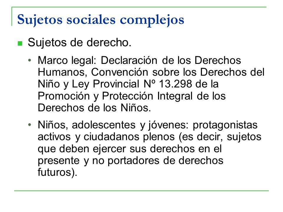 Sujetos sociales complejos Sujetos de derecho. Marco legal: Declaración de los Derechos Humanos, Convención sobre los Derechos del Niño y Ley Provinci