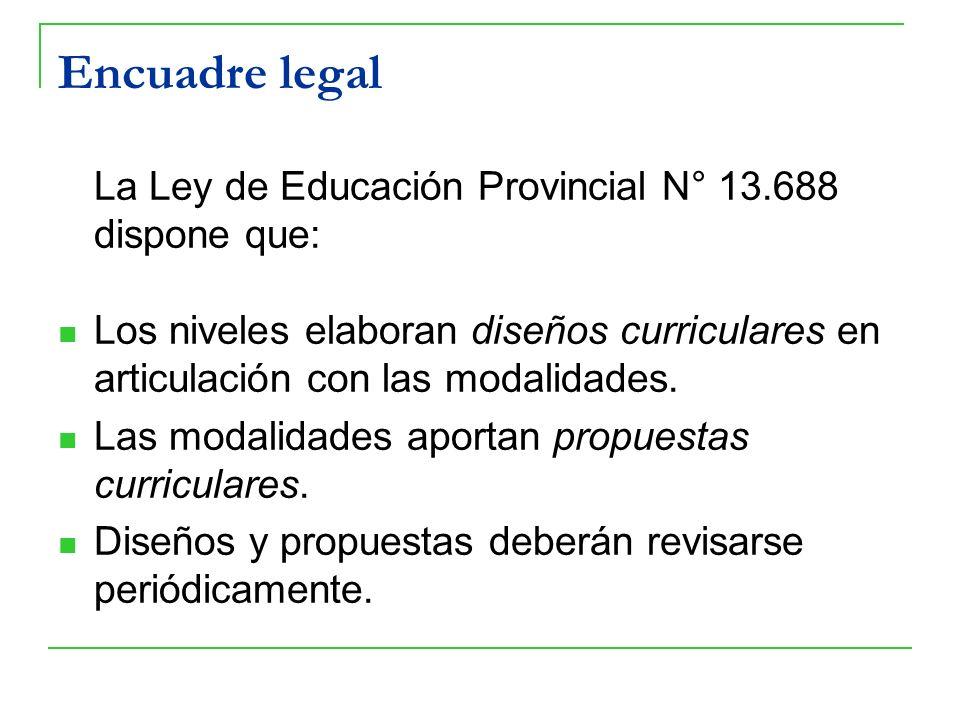 Encuadre legal La Ley de Educación Provincial N° 13.688 dispone que: Los niveles elaboran diseños curriculares en articulación con las modalidades. La