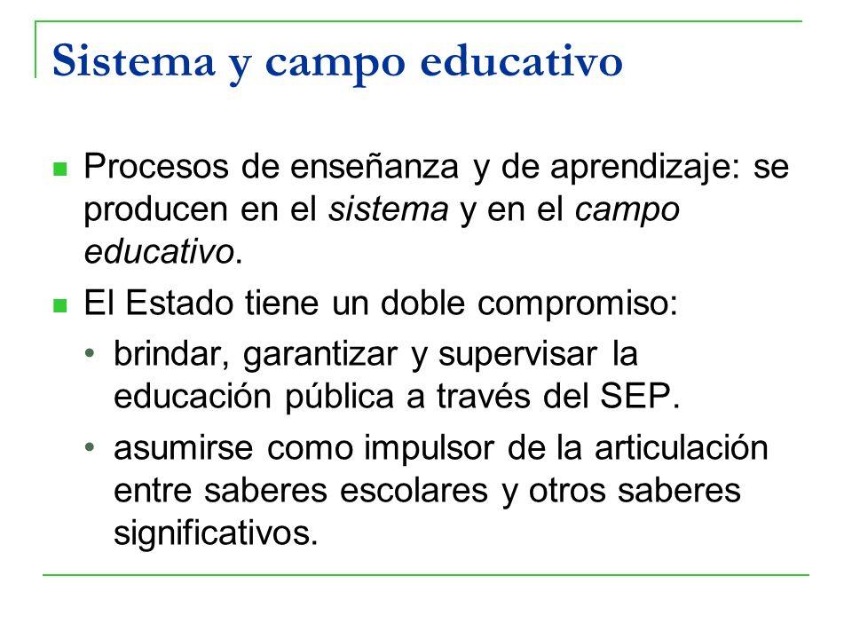 Sistema y campo educativo Procesos de enseñanza y de aprendizaje: se producen en el sistema y en el campo educativo. El Estado tiene un doble compromi