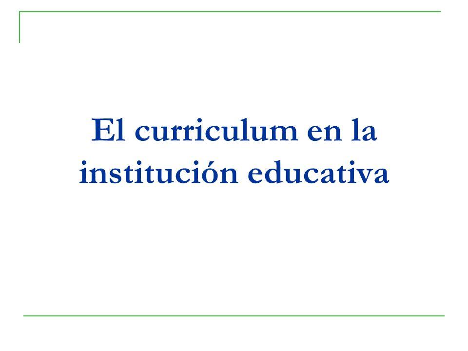 El curriculum en la institución educativa