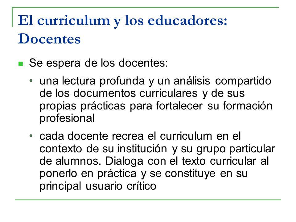 El curriculum y los educadores: Docentes Se espera de los docentes: una lectura profunda y un análisis compartido de los documentos curriculares y de