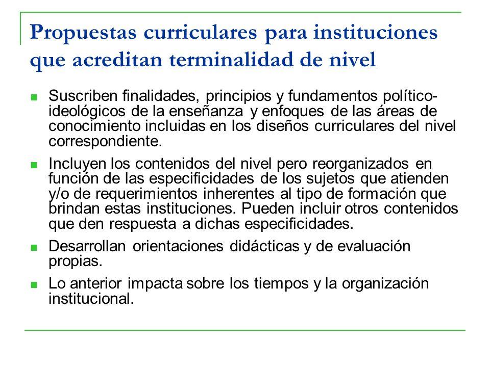 Propuestas curriculares para instituciones que acreditan terminalidad de nivel Suscriben finalidades, principios y fundamentos político- ideológicos d