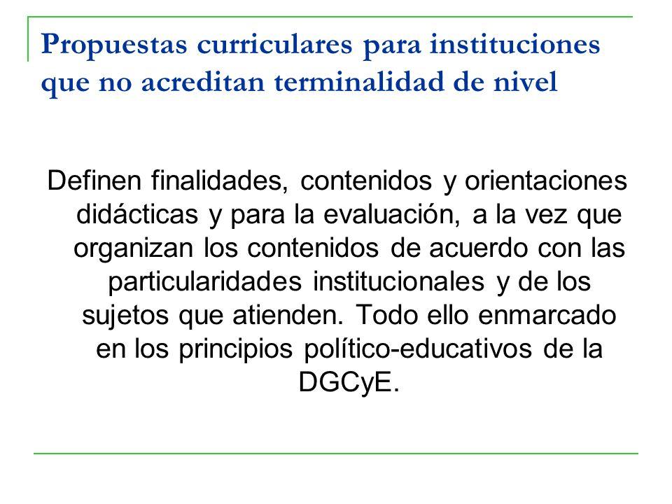 Propuestas curriculares para instituciones que no acreditan terminalidad de nivel Definen finalidades, contenidos y orientaciones didácticas y para la