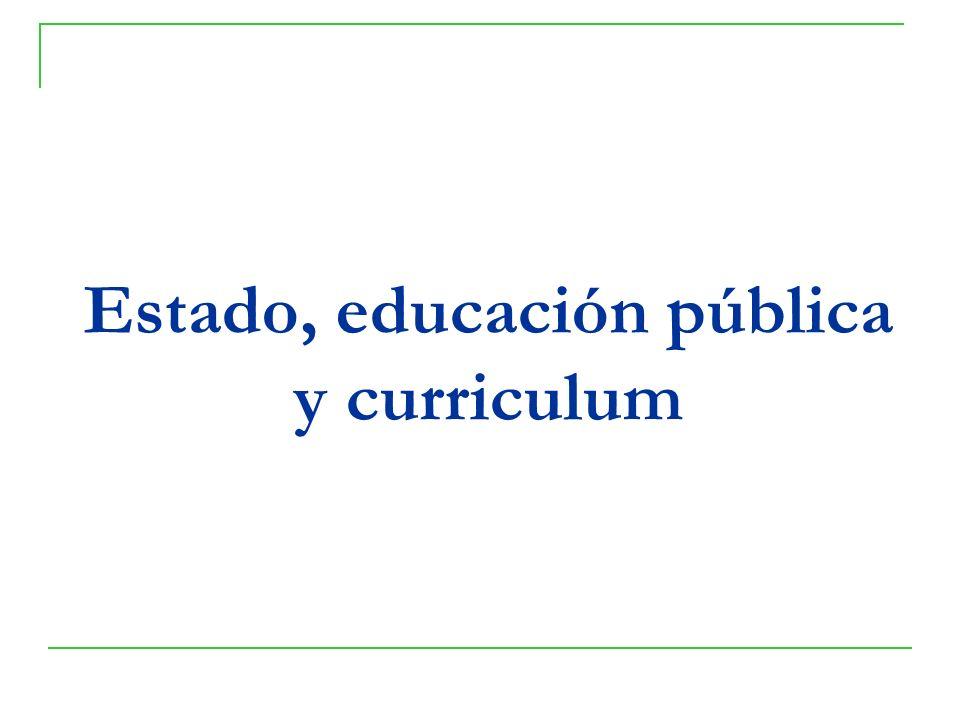 Estado, educación pública y curriculum