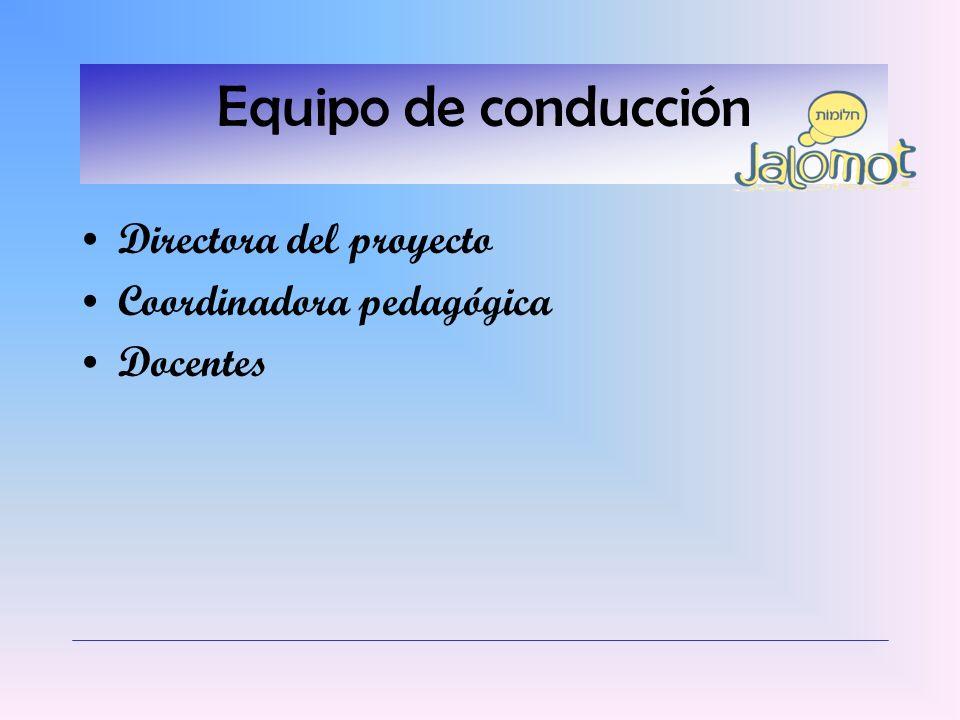 Equipo de conducción Directora del proyecto Coordinadora pedagógica Docentes