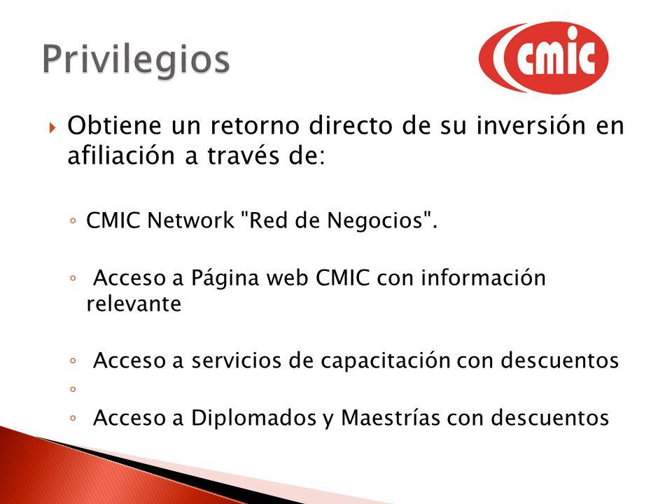 Obtiene un retorno directo de su inversión en afiliación a través de: CMIC Network Red de Negocios .