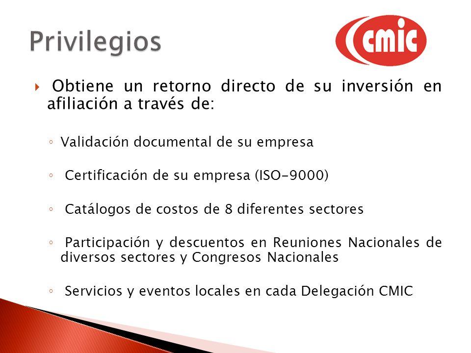Obtiene un retorno directo de su inversión en afiliación a través de: Validación documental de su empresa Certificación de su empresa (ISO-9000) Catál