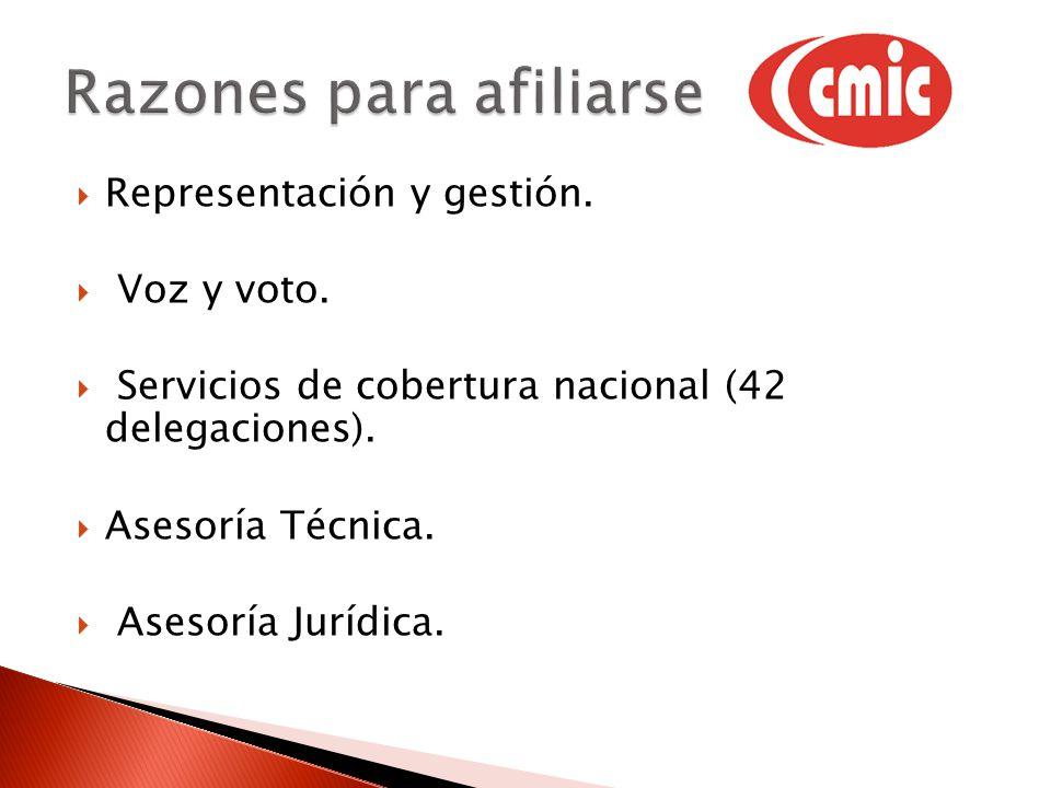 Representación y gestión. Voz y voto. Servicios de cobertura nacional (42 delegaciones). Asesoría Técnica. Asesoría Jurídica.
