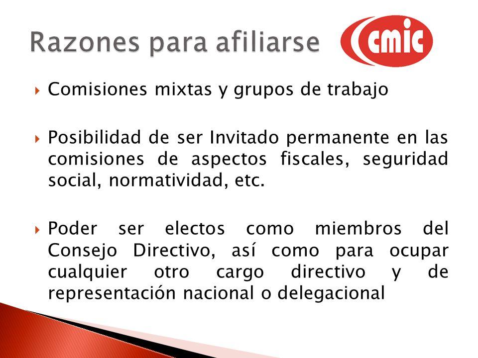 Comisiones mixtas y grupos de trabajo Posibilidad de ser Invitado permanente en las comisiones de aspectos fiscales, seguridad social, normatividad, etc.