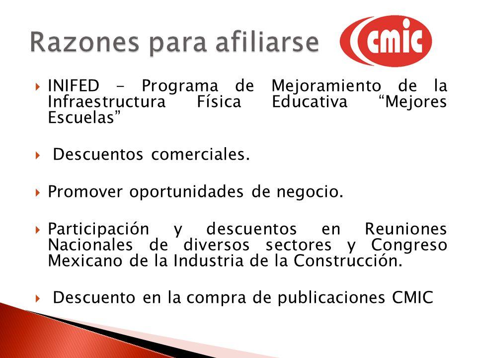 INIFED - Programa de Mejoramiento de la Infraestructura Física Educativa Mejores Escuelas Descuentos comerciales. Promover oportunidades de negocio. P