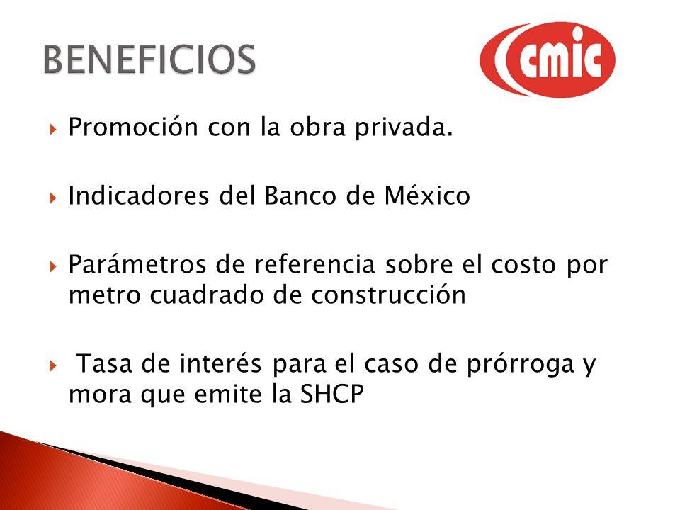 Promoción con la obra privada. Indicadores del Banco de México Parámetros de referencia sobre el costo por metro cuadrado de construcción Tasa de inte