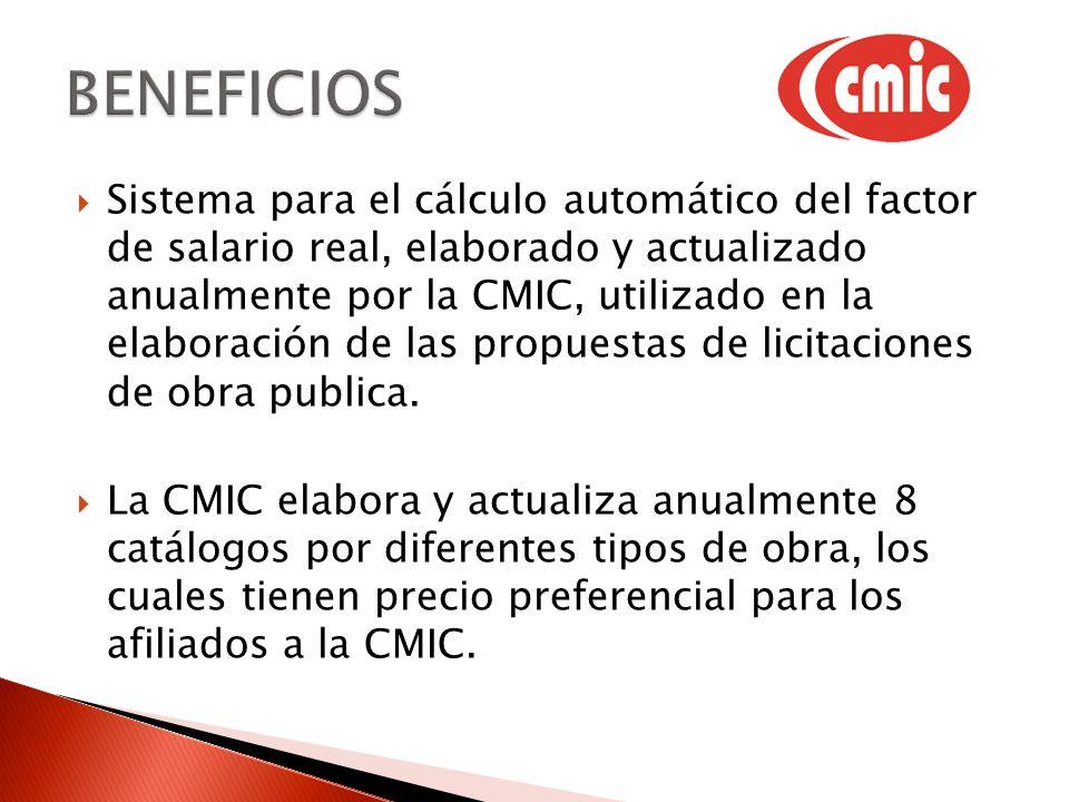 Sistema para el cálculo automático del factor de salario real, elaborado y actualizado anualmente por la CMIC, utilizado en la elaboración de las prop