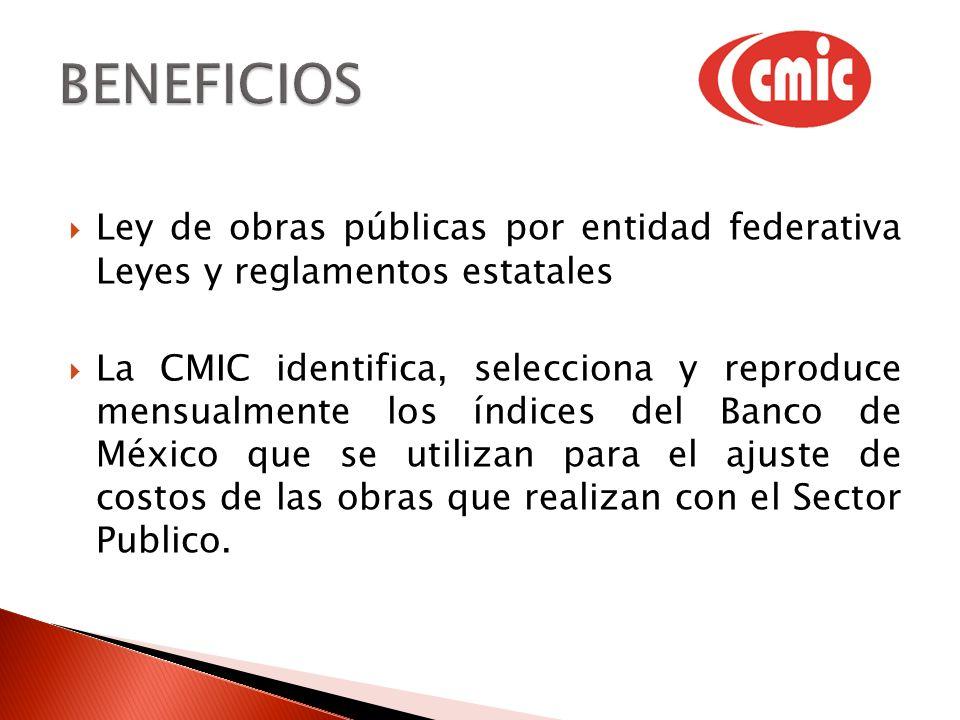Ley de obras públicas por entidad federativa Leyes y reglamentos estatales La CMIC identifica, selecciona y reproduce mensualmente los índices del Banco de México que se utilizan para el ajuste de costos de las obras que realizan con el Sector Publico.