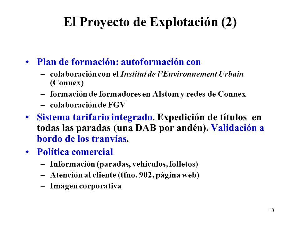 13 El Proyecto de Explotación (2) Plan de formación: autoformación con –colaboración con el Institut de lEnvironnement Urbain (Connex) –formación de f