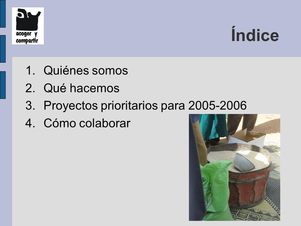 Índice 1.Quiénes somos 2.Qué hacemos 3.Proyectos prioritarios para 2005-2006 4.Cómo colaborar