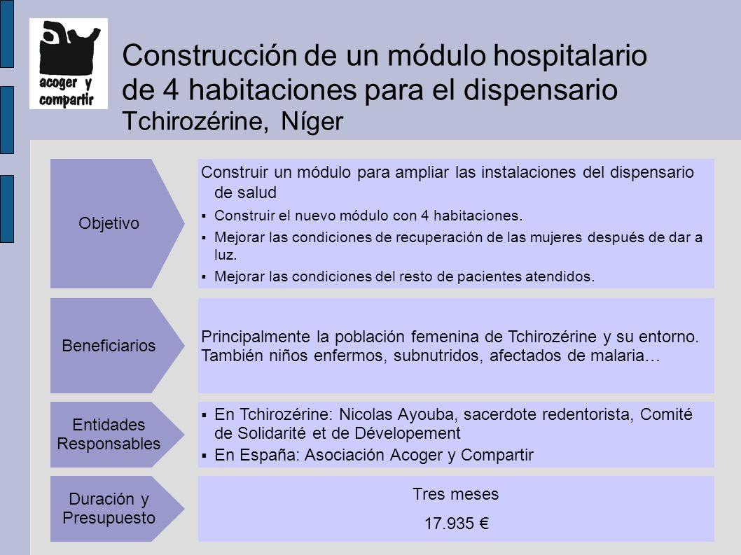 Construcción de un módulo hospitalario de 4 habitaciones para el dispensario Tchirozérine, Níger Construir un módulo para ampliar las instalaciones del dispensario de salud Construir el nuevo módulo con 4 habitaciones.