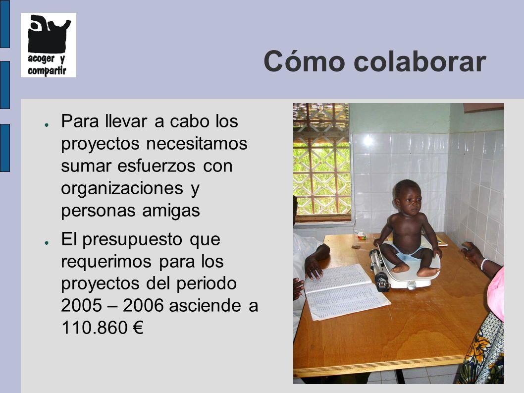Cómo colaborar Para llevar a cabo los proyectos necesitamos sumar esfuerzos con organizaciones y personas amigas El presupuesto que requerimos para los proyectos del periodo 2005 – 2006 asciende a 110.860