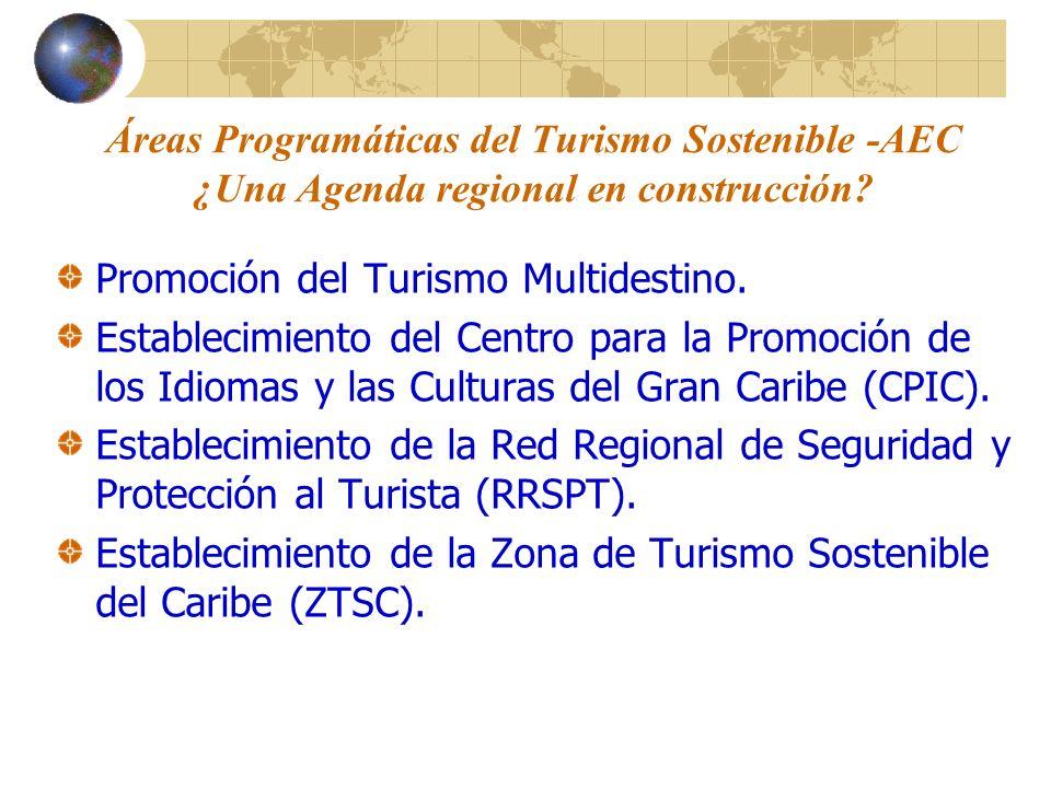 Áreas Programáticas del Turismo Sostenible -AEC ¿Una Agenda regional en construcción? Promoción del Turismo Multidestino. Establecimiento del Centro p