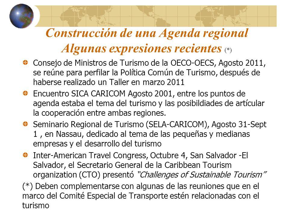 Construcción de una Agenda regional Algunas expresiones recientes (*) Consejo de Ministros de Turismo de la OECO-OECS, Agosto 2011, se reúne para perf