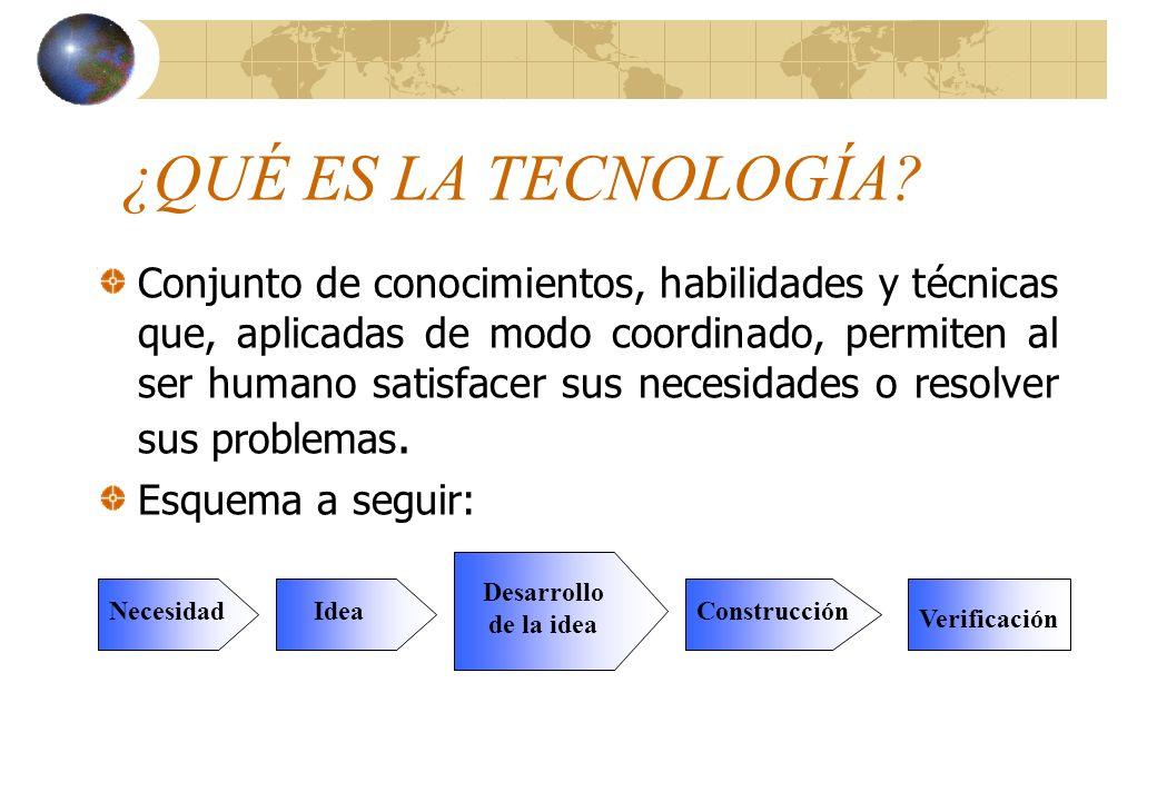 ¿QUÉ ES LA TECNOLOGÍA? Conjunto de conocimientos, habilidades y técnicas que, aplicadas de modo coordinado, permiten al ser humano satisfacer sus nece