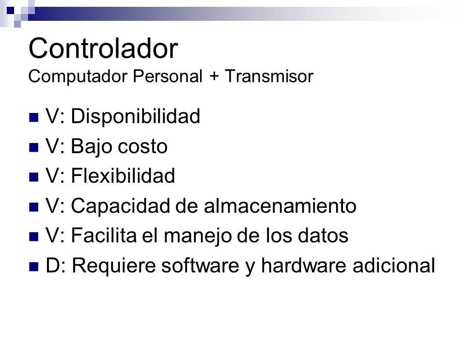 Controlador Computador Personal + Transmisor V: Disponibilidad V: Bajo costo V: Flexibilidad V: Capacidad de almacenamiento V: Facilita el manejo de l