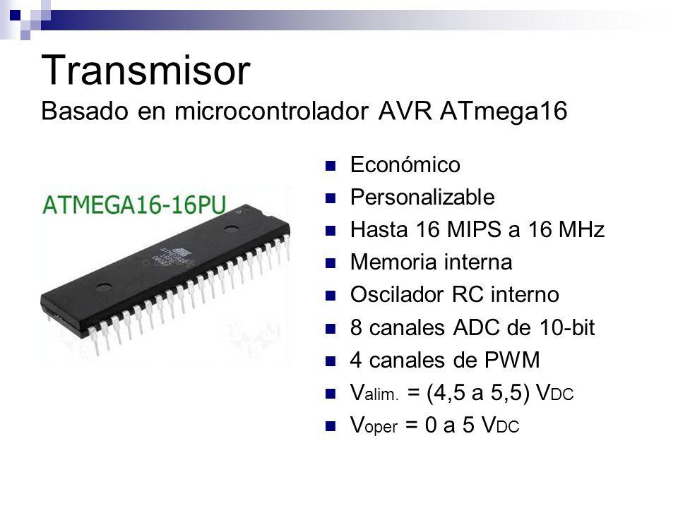 Transmisor Basado en microcontrolador AVR ATmega16 Económico Personalizable Hasta 16 MIPS a 16 MHz Memoria interna Oscilador RC interno 8 canales ADC