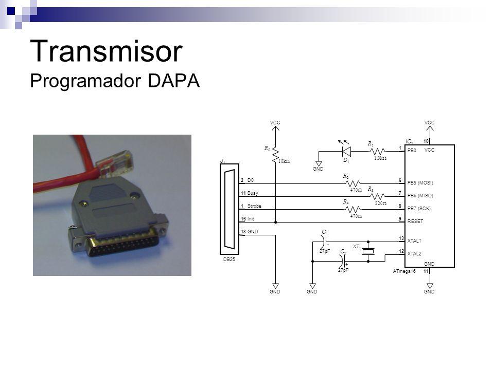 Transmisor Programador DAPA PB0 PB5 (MOSI) PB6 (MISO) PB7 (SCK) RESET XTAL1 XTAL2 1 6 7 8 9 13 12 10 11 VCC GND ATmega16 IC 1 J1J1 DB25 VCC 2 11 1 16