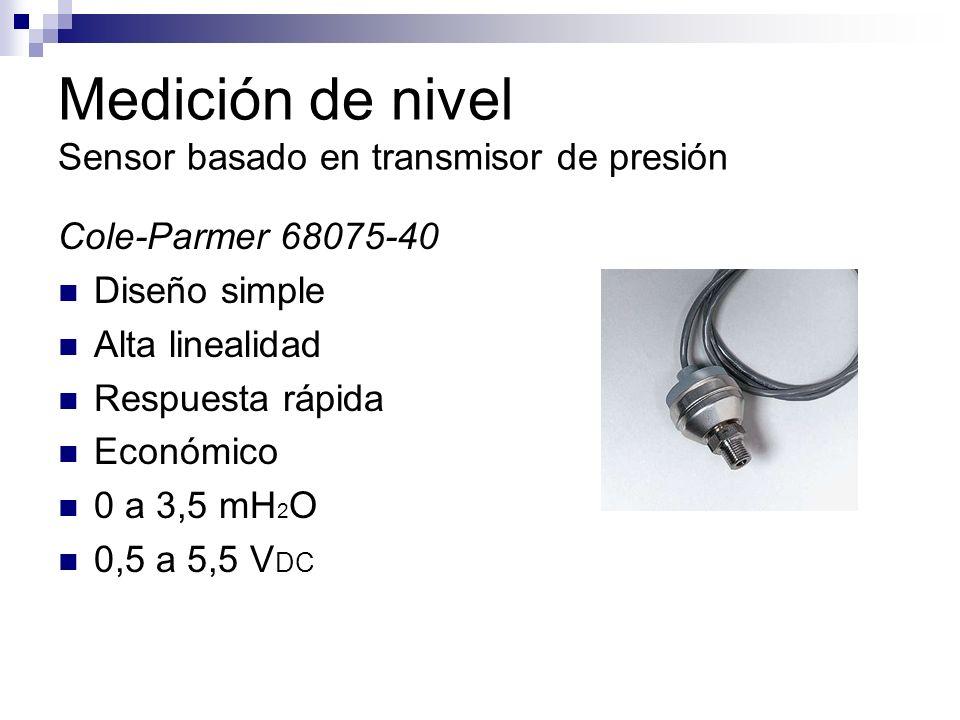 Medición de nivel Sensor basado en transmisor de presión Cole-Parmer 68075-40 Diseño simple Alta linealidad Respuesta rápida Económico 0 a 3,5 mH 2 O