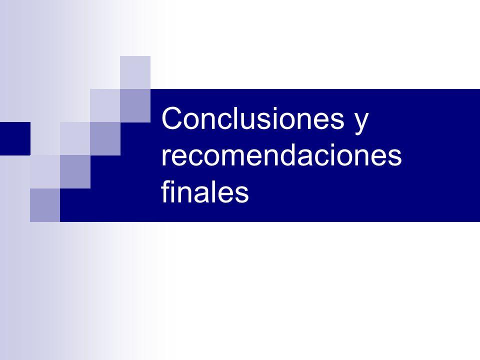 Conclusiones y recomendaciones finales