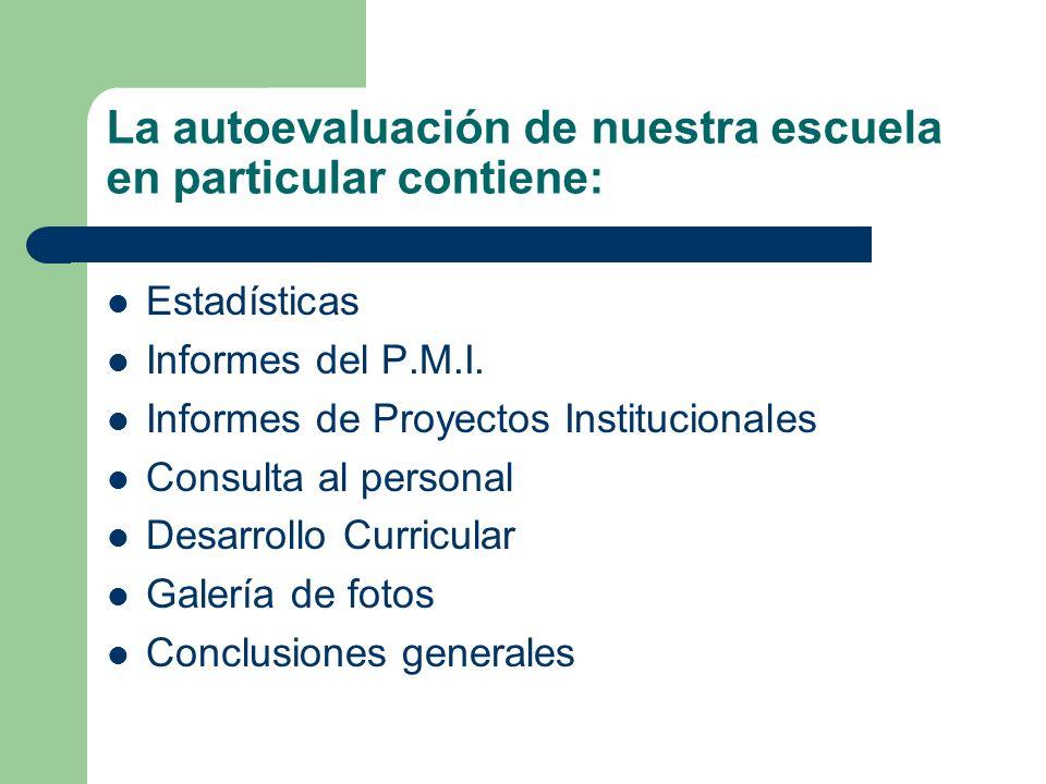 La autoevaluación de nuestra escuela en particular contiene: Estadísticas Informes del P.M.I. Informes de Proyectos Institucionales Consulta al person