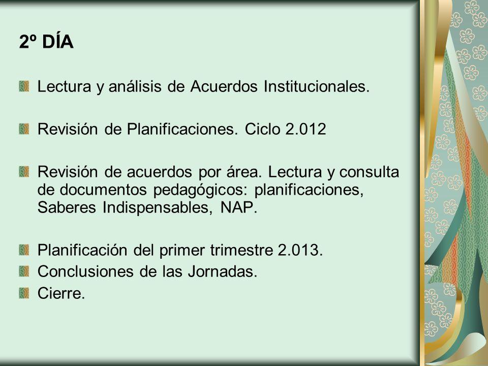 2º DÍA Lectura y análisis de Acuerdos Institucionales. Revisión de Planificaciones. Ciclo 2.012 Revisión de acuerdos por área. Lectura y consulta de d