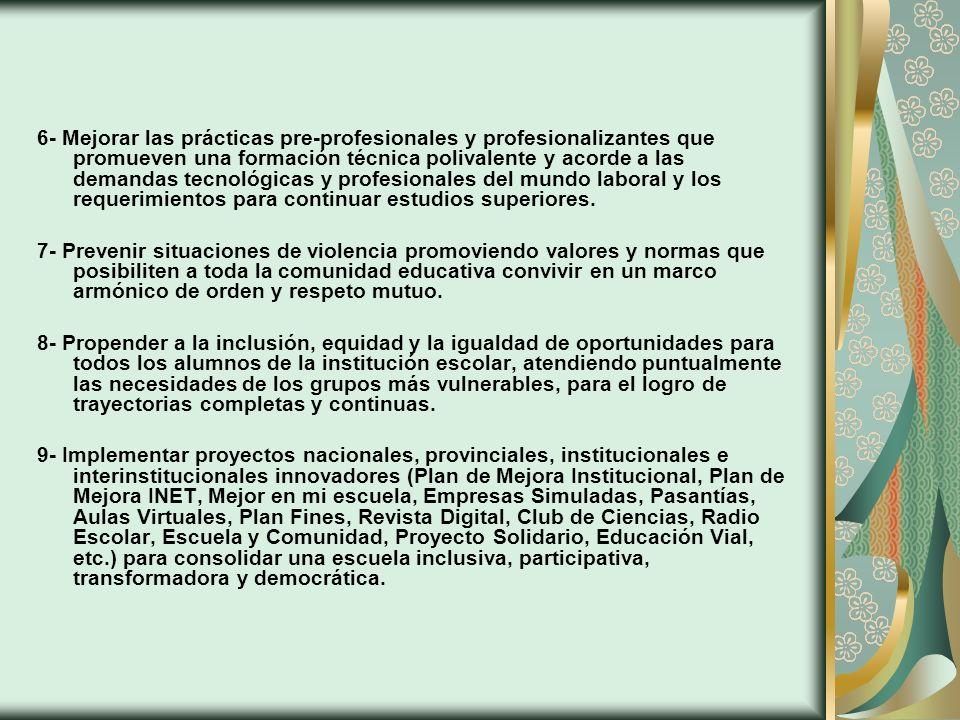 6- Mejorar las prácticas pre-profesionales y profesionalizantes que promueven una formación técnica polivalente y acorde a las demandas tecnológicas y